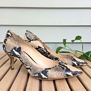 Banana Republic Natural Snake Effect Print Heels